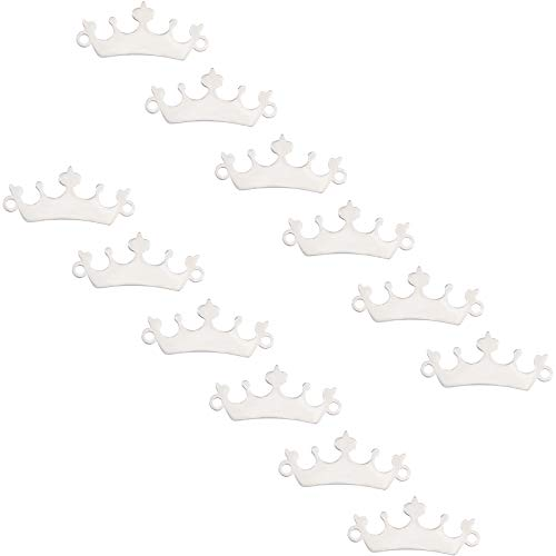 UNICRAFTALE about 10pcs Flat Crown Links 19mm Blank ID Tags Charm Connectors Stainless Steel Links 1.2mm Hole Metal Charm Linking Pendant for Jewelry Making Stainless Steel Color