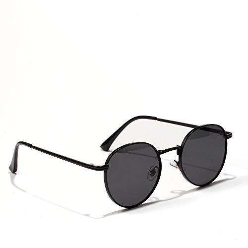 IRCATH Gafas de Sol Clasísticas Redondas para Hombres Y Mujeres Moda Espejos Negros Lentes Verdes UV400 Adecuado para Golf, Ciclismo, Gafas de Sol de Pesca-5_El Mismo Color Adecuado para Conducir en