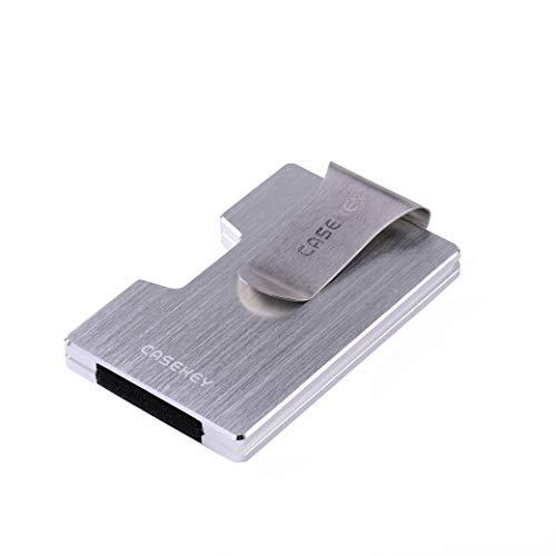 CaseKey - Cartera Minimalista de Bolsillo de Metal con Bloqueo RFID, Bolsillo para Tarjetas de crédito, Billetera con protección NFC, para Hombre Plateado Plata Small