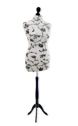 LUCCESI Schneiderpuppe Schneiderbüste | Damen Größen/Size: von 34/36 bis 44/4646 | Büste S (34-36), Bezug Creme mit Blumen (schwarz), Standfuss schwarz