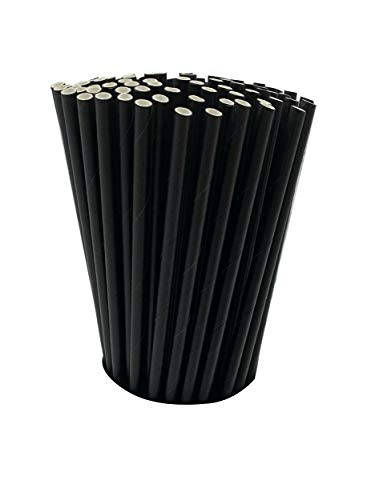 100 Black Biodegradable Paper Straws co-Friendly Biodegradable Drinking Straws Bulk for Party Supplies, Bridal/Baby Shower, Birthday, Mixed Drinks, Weddings, Restaurant, Food Service, Drink Stirrer