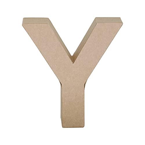 Papier Mache Letter Y, Brown