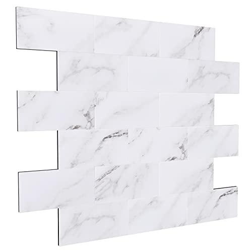 BeNice Metallimitation marmorering klistermärken tunnelbana 50 x 100 mm, kök pinne på plattor självhäftande väggplattor för badrum öppen spis skala och klistra Carrara vit 5 ark