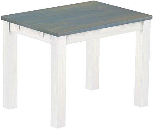 Brasilmöbel Esstisch Rio Classico 100x73 cm Taubengrau Weiß Massivholz Pinie Holz Esszimmertisch Echtholz Größe und Farbe wählbar ausziehbar vorgerichtet für Ansteckplatten