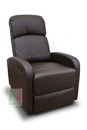 Stil Sedie - Poltrona reclinabile Recliner con Tre Livelli di Posizione Poltrona Relax, Poltrona TV, Poltrona Letto MOD Vittoria Colore Marrone