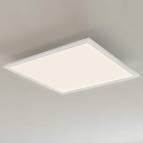 Briloner Leuchten LED Deckenleuchte-Panel mit Bewegungssensor, ultraflach, Deckenlampe 38W, 4.100 Lumen, Tageslicht Sensor, quadratisch, weiß, Kunststoff, 38 W, 59.5 x 59.5 cm (LxB)