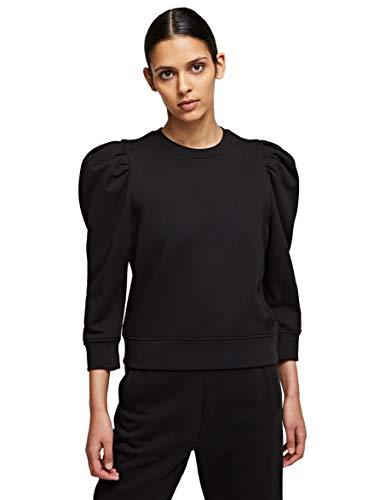 KARL LAGERFELD Puffy Sleeve Logo Sweatshirt Sudadera, Negro, L para Mujer