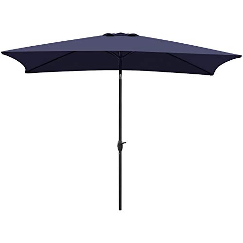 VEGOND Patio Umbrella Rectangular Table Umbrella Outdoor Market Umbrella with Tilt Adjustment and Crank Lift System 6.6 by 10 FT Navy Blue