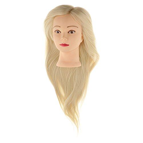 MagiDeal Femme Tête Mannequin en Silicone avec Cheveux Long en Synthétique pour Entraîner Exercice Formation de Coiffure Tête à Coiffer à Coupe Tressa