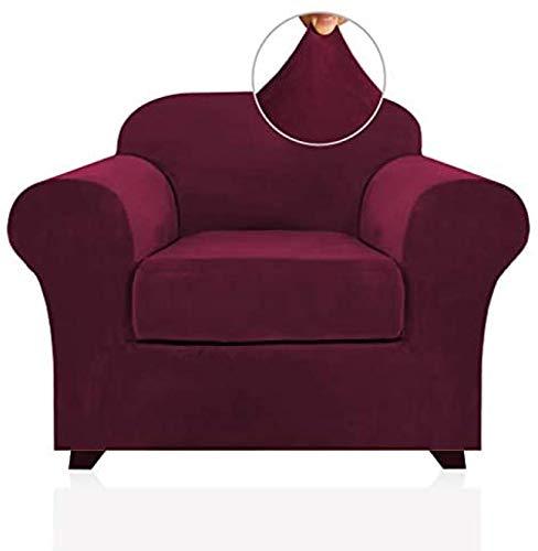 ZINE Fundas elásticas de terciopelo real para sillón, 2 piezas, incluye funda de base y funda de cojín, fundas de sofá, fundas de sofá de 1 plaza, funda de terciopelo suave y grueso