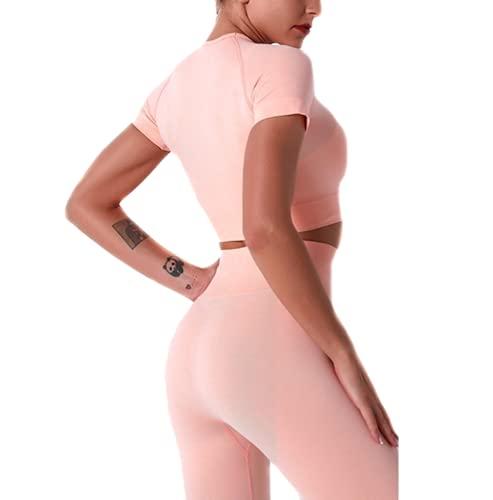 C K CrisKat Sportanzug für Yoga, 2-teilig, für Yoga, Sport, Leggings und Top, Set für Yoga, solide, ohne Nähte für Fitness, Sportlich., Pink S