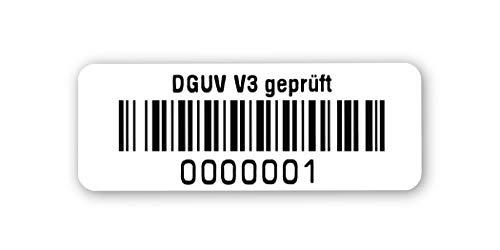 Prüfetiketten DGUV V3 geprüft, 40x15mm, hochglänzend weiß, fertig bedruckt mit 7-stelligem fortlaufendem Barcode 128B für alle gängigen Prüfgeräte. Nummernkreis 0000 001.0001 000