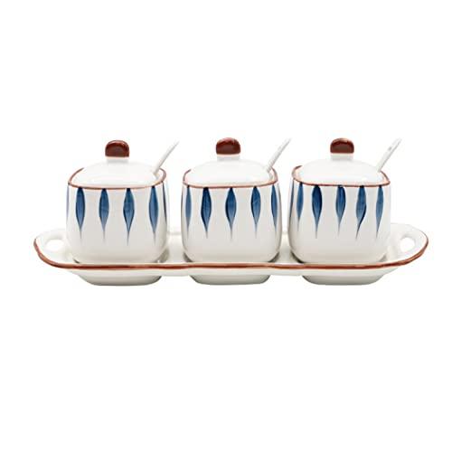 Contenedor de cerámica para almacenar alimentos con tapa, tarros de especias vacíos de 8 onzas, organización y almacenamiento a prueba de humedad (bonito)