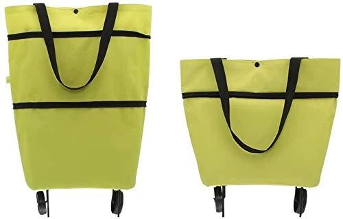 Premium Einkaufstrolley (faltbar klappbar wasserabweisend) mit Rädern und Stützen - Shopping Bag Einkaufstasche Räder Tasche groß Green Trolley Einkaufstrolli Trolli (Grün)