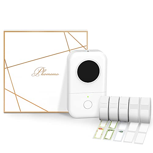 Phomemo D30 Bluetooth Tragbarer Etikettendrucker Geschenkset mit 5 Rollen Etiketten Etikettiergerät Etikettiermaschine für iOS and Android Handys Selbstklebende Etiketten Aufkleber Beschriftungsgerät