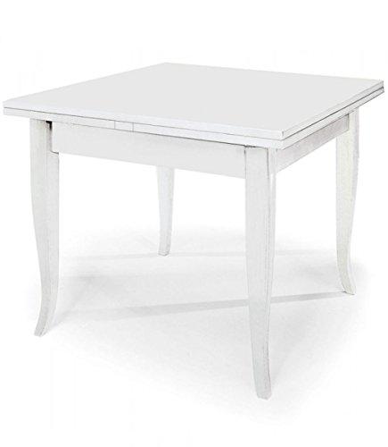 Spazio Casa Tavolo Quadrato Bianco 80x80 allungabile con Piede a sciabola