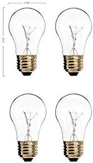 (Pack of 4) 60A15/CL - 60-Watt A15 Incandescent Appliance Bulb - Clear Finish - Medium (E26) - Standard US Size Household Base 60W