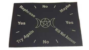 """AzureGreen 8""""x12"""" Triple Moon Pentagram Pendulum mat"""