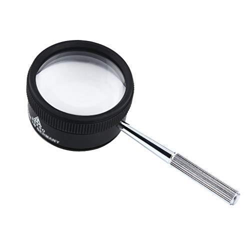 Qjifangfdj Lezen Vergrootglas 35 keer High-definition Optische wit Glas Dubbele Lens Handheld Draagbaar Metaal voor de Ouderen Lezen Identificatie