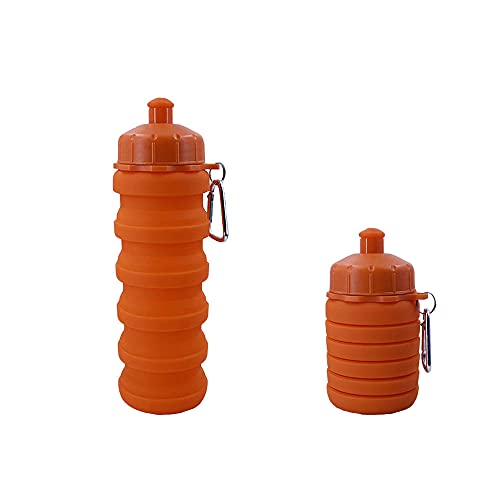 SDGH Drinking Bottle Silicone Sports Water Bottle Creative Foldable Portable Telescopic Water Bottle Orange BPA-Free Ideal for Sports, Cycling, Yoga, Hiking and Camping 500 ml