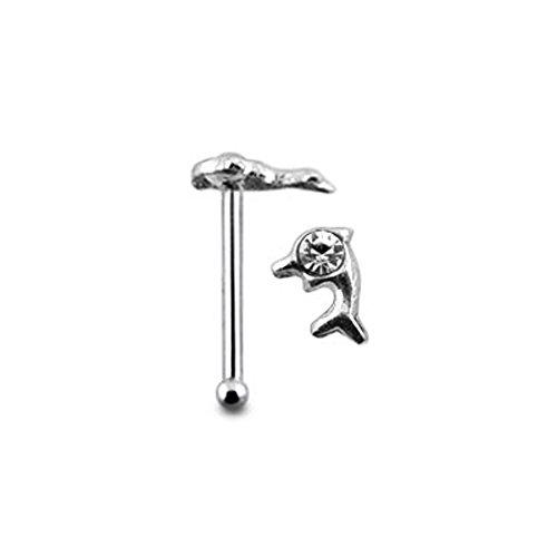 Delphin klar Crystal Stein Top 22 Gauge 925 Sterling Silber Nase Knochen Stud Piercing