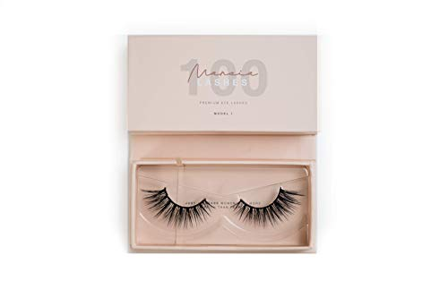 MARCIA Beauty Lashes 100 (Model 1) wiederverwendbare künstliche 3D Fake Falsche Premium Wimpern, 1 Paar, Designed by Marci