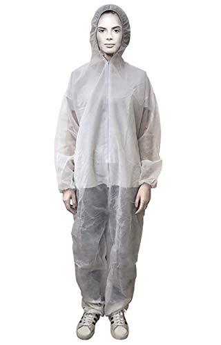 Tuta Monouso, Tuta Protettiva Professionale in TNT, Dispositivo di Protezione Individuale (DPI), Tuta Protezione da Lavoro, Quantità 10 pz - 30 pz - 50 pz, Colore Bianco. (Quantità 10 pz, Bianco)
