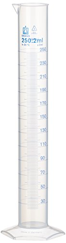 NeoLab E-1614 Probeta graduada, alta, 250 ml: 2 ml, polipropileno, base hexagonal