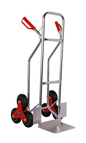Sackkarre Aluminium für Treppen 200 kg, 111x55x55 cm, Vollgummibereifung (Treppen-Sackkarre Transportkarre Stapelkarre Handkarre, Umzugskarre, leichte Sackkarre aus Aluminium für Umzug)