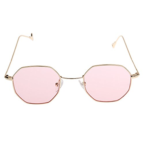 joyMerit Verano Vintage Octagon Gafas de Sol Hombres Mujeres Gafas Retro Gafas de Moda - Rosado