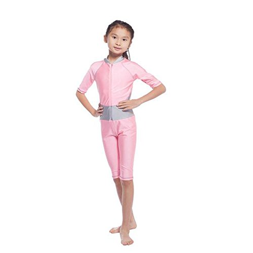 Zhuhaixmy Sommer Muslim Mädchen EIN Stück Malaysia islamisch Badeanzug Burkini Bathing Suit Mit Halbe Hülse Araber Middle East Bademode Beachwear (Farbe:Rosa,Größe:L)