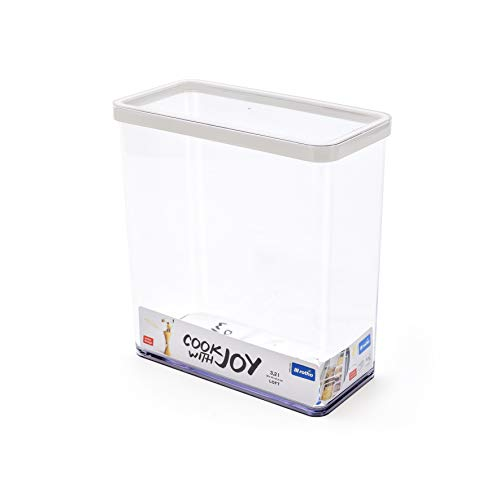 Rotho Loft Vorratsdose 3.2 l, Kunststoff (BPA-frei), transparent / weiss, 3.2 Liter (20 x 10 x 21,4 cm)