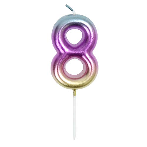2.76' Large Birthday Candles 1st One Year Cake Baby Roman Cool Number Candle No 1 9 18 21 30 40 50 60 70 Cake Topper Numeral Candle Party Wedding Anniversary Decorations(INS 8)