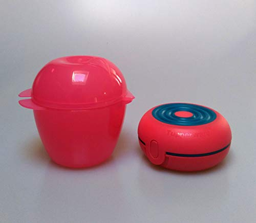 Tupperware Obstbox Apfeldose Rosa + Lunchbox Brotdose FlexiTwin rot