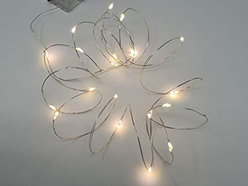 Lunazon 3 stuks indoor lichtsnoer werkt op batterijen, warm wit, 20 micro LED-lampjes op zilverdraad, lengte 205 cm, voor binnen, decoratie voor Kerstmis, adventskrans, Halloween party