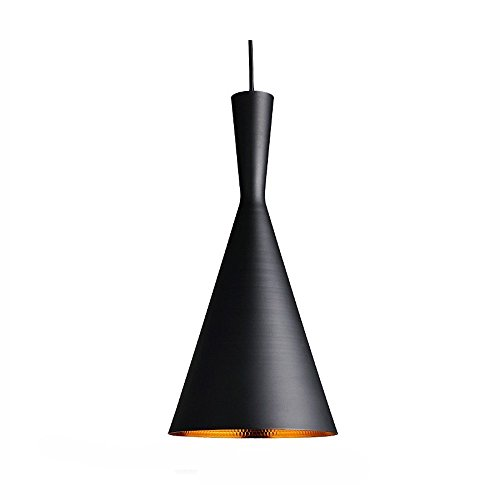Glighone Luz Colgante Lámpara de Techo 40W Lámpara Industrial Luz de Comedor Luz Vintage Casquillo E27 No Incluye Bombilla para Bar Decoración Interior, Número Pequeño, Negro y Oro