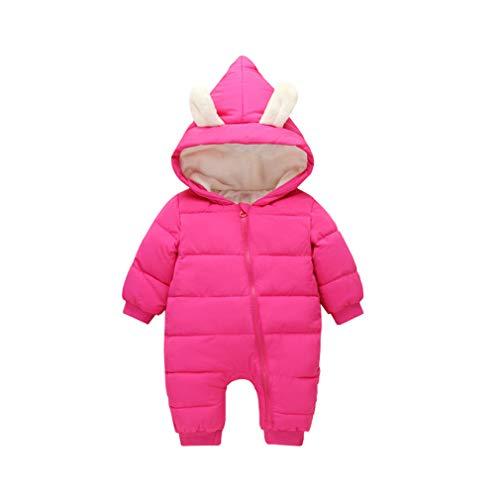 zhbotaolang Enfant Hoodie Barboteuse Doudoune - Tout Petits Manches Longues Hiver Combinaison Coton Vêtements pour Kids Zipper Habit (100cm Rosy)