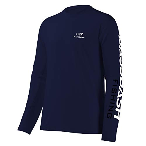 Bassdash Angeln T-Shirt Fishing Shirt Langarm Hemd Fischerhemd Angelbekleidung UPF UV Sonnenschutz (Dunkelblau/Weißes Logo, 4X-Large)