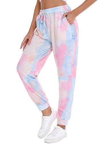Irevial Pantalones Pijama Largos para Mujer Elásticos Cintura Alta Bolsillos pantalón Deportivo de Tie Dye Estampados Casual Yoga Pants Verano