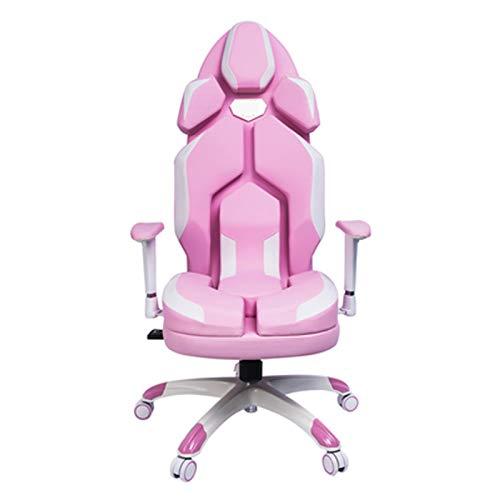 Silla de juegos ergonómica rosa bonita silla de oficina de piel sintética de alta calidad