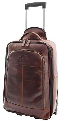 Genuine Leather Cabin Size Suitcase on Wheels Travel Trolley Flight Carry on Luggage HLG818 Brown