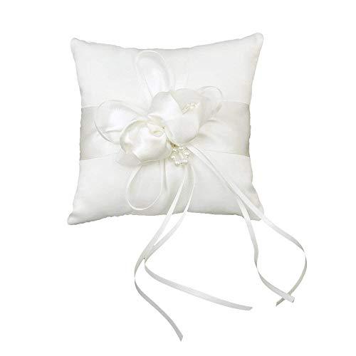 Ogquaton Ringkissen Kissen Hochzeit Ringkissen mit Kreuz Blume Band Hochzeit liefert für Trauringe 20cm Weiß 1 Stück kreativ und nützlich