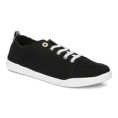Vionic Beach Pismo Casual Women's Fashion Sneakers-Sustainable Shoes That Include Three-Zone Comfort with Orthotic Insole Arch Support, Machine Wash Safe- Sizes 5-11 Black Canvas 8 Medium US