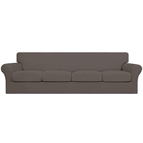 Easy-Going Funda de sofá de 4 plazas para perros de gran tamaño, elástica, suave, lavable, para 4 cojines separados, protector de muebles elástico para mascotas, niños, color marrón topo