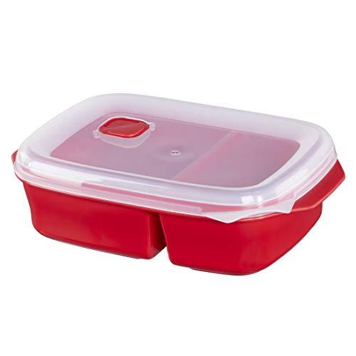 Xavax Mikrowellendose mit 2 Speisefächern (mikrowellengeeignete Frischhalte-Behälter ideal zum Einfrieren/Erhitzen von Speisen, verschließbare Lunch-Box mit Deckel spülmaschinenfest, 1,3 l) Rot