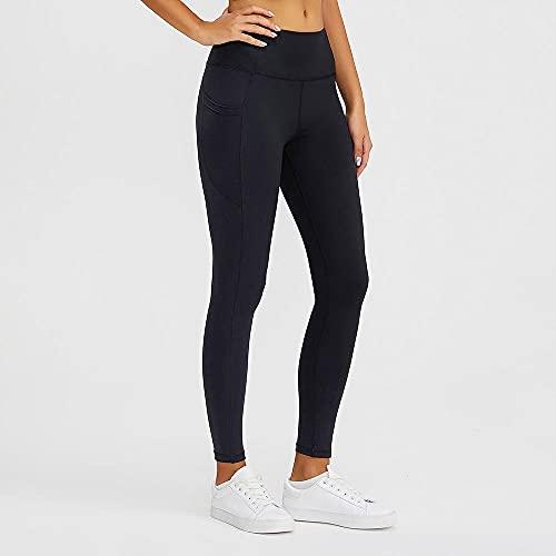 ArcherWlh Leggings Mujer,Running Sports Fitness Yoga Pantalones de Bolsillo sin Fisuras Paño Slim Medias Mujer Europa-Negro_S