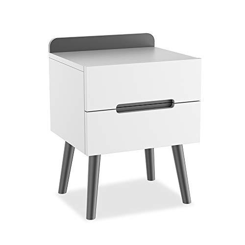 ZZBIQS - Comodino in legno bianco con 2 cassetti, moderno comodino per la camera da letto...