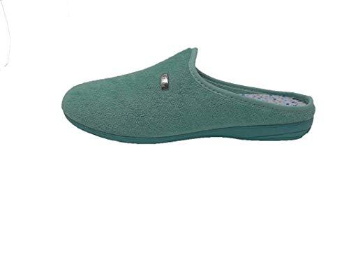 Zapatillas de Estar por casa/Mujer/Biorelax/Apto Plantilla ortopedica/Plantilla Extraible/Empeine :Algodón Rizo/Aguamar/Talla 39