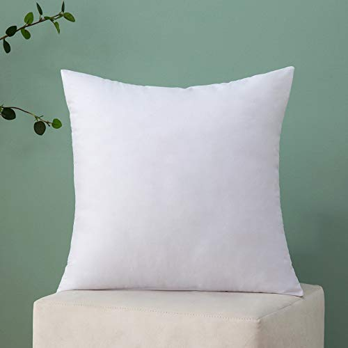 MIULEE 1 Piece Warm and Soft fluffy Plump White Cushion Inner for Decorative Cushion Cover in Bed Sofa Outdoor pillow Inner 16x16inch 40x40cm Polyester Cotton