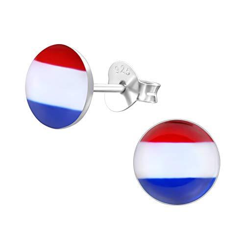 Laimons Damen-Ohrstecker Damenschmuck Platte Scheibe Holland Niederlande Flagge 7mm Sterling Silber 925